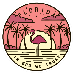 Florida In God We Trust Flamingo Sticker