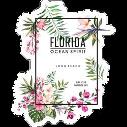 Florida Ocean Spirit Floral Leaves Sticker