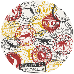 Florida, Usa Set Of Stamps Sticker