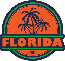 Florida With Palm Silhouettes Sticker