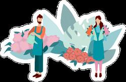 Florists Making Flower Bouquets Plant Illustration Sticker