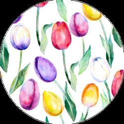 Flower  Background Tulips Over White Sticker