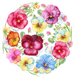 Flower Circle With Violets, Pansies Watercolor Sticker