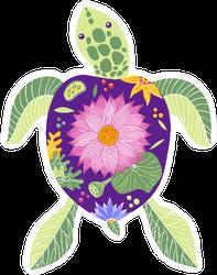 Flower Shell Sea Turtle Sticker