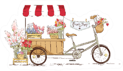 Flower Shop On Bicycle Florist Illustration Sticker