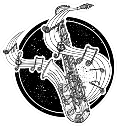 Flowing Music Saxophone Sticker