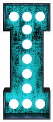 Fluorescent Blue Neon Font Letter I Sticker