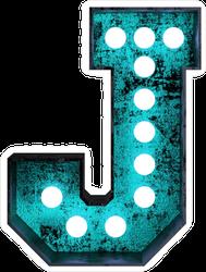 Fluorescent Blue Neon Font Letter J Sticker