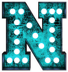 Fluorescent Blue Neon Font Letter N Sticker