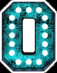 Fluorescent Blue Neon Font Number Zero Sticker