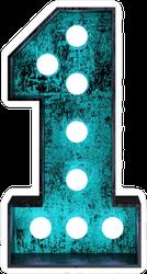 Fluorescent Blue Neon Font Number 1 Sticker