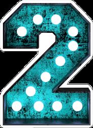 Fluorescent Blue Neon Font Number 2 Sticker