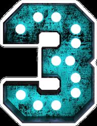 Fluorescent Blue Neon Font Number 3 Sticker