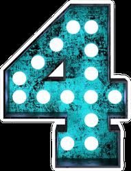 Fluorescent Blue Neon Font Number 4 Sticker
