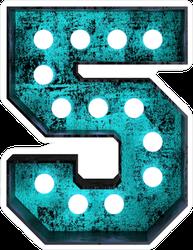 Fluorescent Blue Neon Font Number 5 Sticker