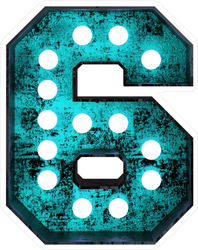 Fluorescent Blue Neon Font Number 6 Sticker