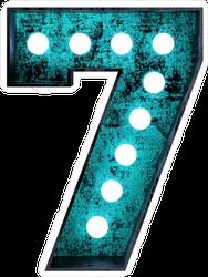 Fluorescent Blue Neon Font Number 7 Sticker
