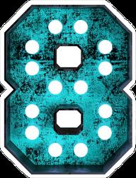 Fluorescent Blue Neon Font Number 8 Sticker