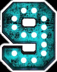 Fluorescent Blue Neon Font Number 9 Sticker