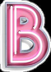Fluorescent Pink Tubes Letter B Sticker