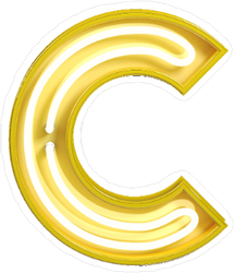 Fluorescent Yellow Tubes Letter C Sticker