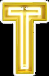 Fluorescent Yellow Tubes Letter T Sticker