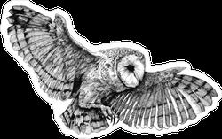 Flying Barn Owl Illustration Sticker