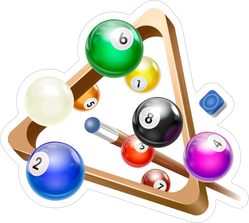 Flying Billiard Ball With Triangle Rack Sticker