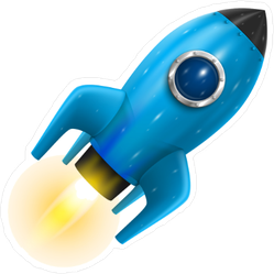 Flying Blue Rocket Sticker