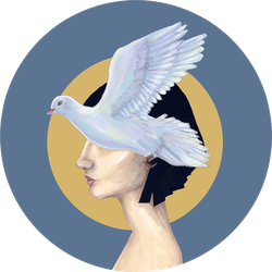 Flying Dove And Woman In Profile Illustration Sticker