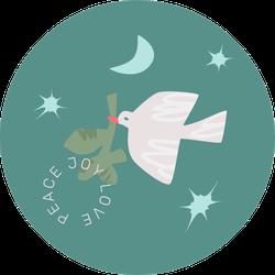 Flying Dove On Green, Peace Joy Love Sticker