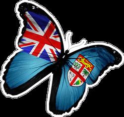 Flying Fiji Flag Butterfly Sticker