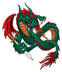 Flying Fire Breathing Dragon With a Sword Sticker