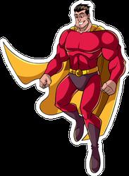 Flying Happy Cartoon Superhero Sticker