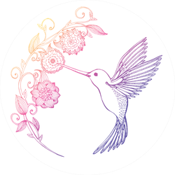 Flying Hummingbird And Flowers Pink And Purple Sticker