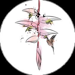 Flying Hummingbird And Tropical Flower Illustration Sticker