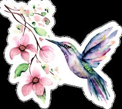 Flying Hummingbird Watercolor Illustration Floral Sticker