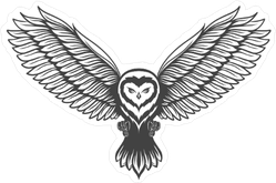 Flying Owl In Attacking Pose Sticker