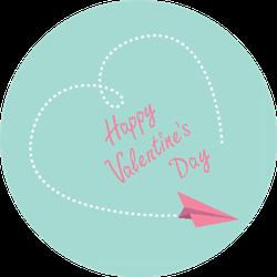 Flying Paper Plane Happy Valentines Day Card Sticker
