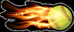 Flying Softball On Fire Sticker