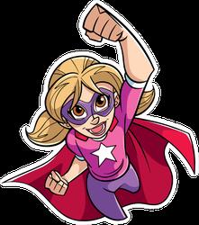 Flying Superhero Girl Sticker