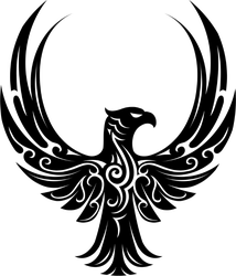 Flying Tribal Eagle With Wings Out Sticker