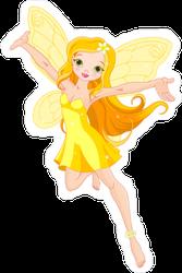 Flying Yellow Fairy Sticker