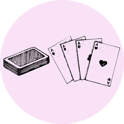 Four Aces Deck Of Poker On Pink Sticker