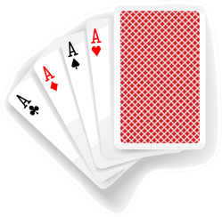 Four Aces In Five Card Poker Hand Playing Cards Sticker