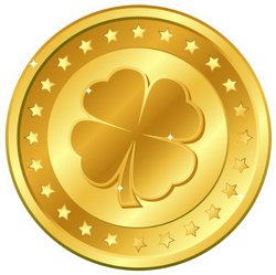 Four-leaf Clover Gold Coin With Stars Sticker