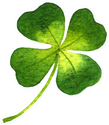 Four-leaf Clover Watercolor Illustration Sticker