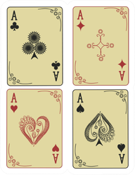 Four Vintage Aces Of Playing Cards Sticker