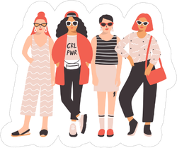 Four Young Women Stickers
