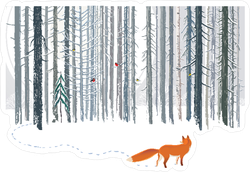 Fox in Winter Forest Landscape Sticker